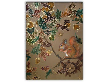 Giclee print, squirrel, cute animal, nature, brown, relax, ochre wall hanging, oak, autumn, forest, homelike decor, cozy, woodland, batik
