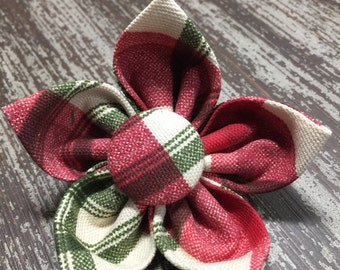 Flower Collar Attachment & Accessory for Dogs and Cats  / Thick CHRISTMAS Red and Green Tartan