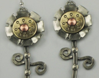 Flower Earrings, Dancing Flower Earrings, Mixed Metal Earrings RP0262ER