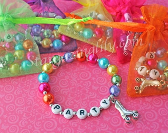 Roller-skate Party Favor bracelet in Bright Pearl, Charm Bracelet with name. Party Favor or Birthday Gift Personalized Name Bracelet