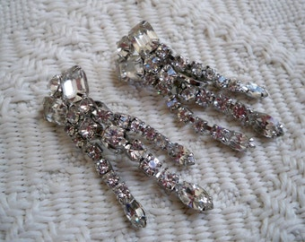 Vintage Rhinestone Dangle Clip-on Earrings  Glam Wedding Prom