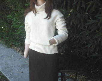 Vintage Pencil Skirt, Darlene, French Angora, Wool, Chocolate Brown, Rabbit Fur, Medium, made in USA