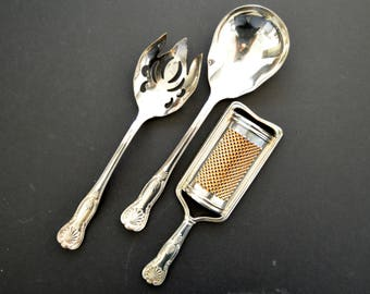 Vintage  Sheffield Silver Plate Salad Server and Grater Set -MADE in ITALY - Ornate  Shell Embossed Handle Art Nouveau Style Hostess Gift