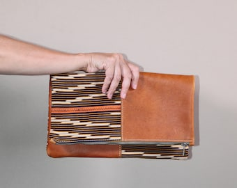 Leather Foldover Bag - Clutch Bag - Leather Boho Clutch - Orange Leather Foldover Clutch - Boho Chic Clutch - Day Clutch Purse
