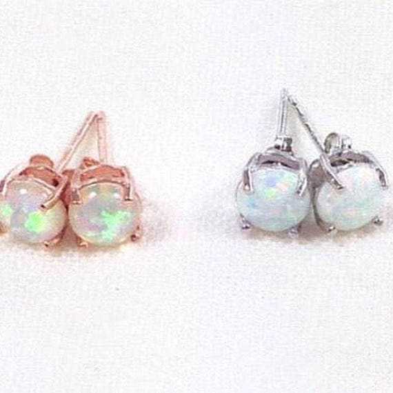 Opal Stud Earrings In Sterling Silver Or Rose Gold Handmade