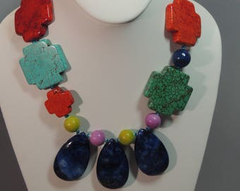Multi Color Necklace Lapis teardrops 19 1/2 Silver plated