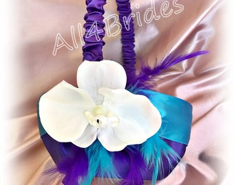 Weddings, turquoise and purple flower girl basket, orchid flower girl basket, wedding decorations