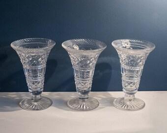 Edwardian Cut Glass Lead Crystal vases x 3