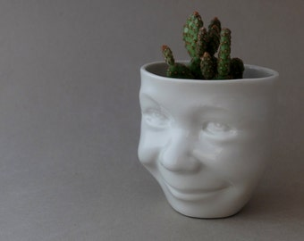 Head Planter, Face Planter, Head Vase, Desk Accessories, Small Plant, Herb Pot, Succulent Planter, Flower Pot, Cermic Cup, SCULPTUREinDESIGN