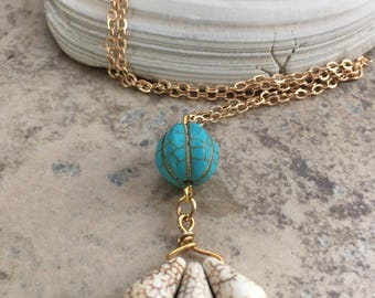 Handcrafted howlite and turquoise bead boho necklace