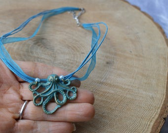 Octopus Necklace, Octopus Pendant, Steampunk Necklace, Kraken Necklace, Cthulhu Necklace, Sea Creature, Sea Themed Gift