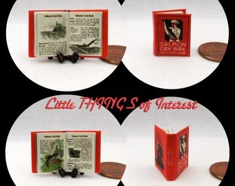 THE SALMON COOKBOOK Miniature Book Dollhouse 1:12 Scale Readable Illustrated Cook Book Kitchen