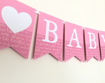 Baby Girl Banner - Pink and white baby banner. Baby shower, welcome baby girl. Baby sprinkle, gender reveal, photo prop, party decor.