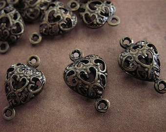 10 - Antique Bronze - Filigree connector Beads (FBH)