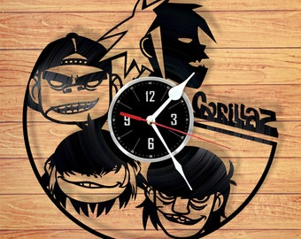 Gorillaz vinyl record wall clock handmade home decor unique gift for your friend for any occasion