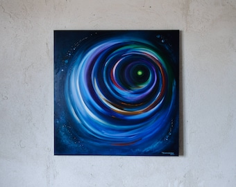 Night express // original abstract oil painting // 70x70 cm