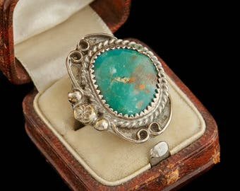 Antique Native Navajo Pawn Sterling Silver Cripple Creek Turquoise Ring Sz 3.25 | Vintage | 6.4 Grams | Marble | Blossom | Old Dead Pawn | M