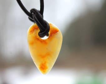 Yellow Baltic Amber Leather Men Necklace Charm Arrowhead Amber Pendant Unisex Pendant Rustic