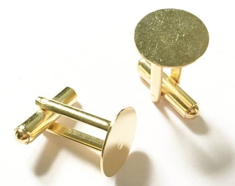 22ct Gold Plated  15mm Flat Pad Cufflink Blanks 10PC 50PC