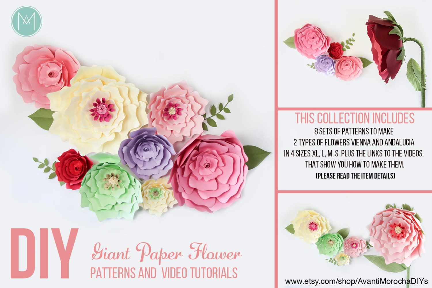 Giant paper flowers hanging and standing stemmed paper flowers this is a digital file mightylinksfo