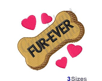 Fur-Ever Dog Bone Love - Machine Embroidery Design