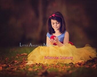 Yellow tulle dress etsy snow white luxury princess dress flower girl dress tutu dress blue crochet top mightylinksfo Gallery