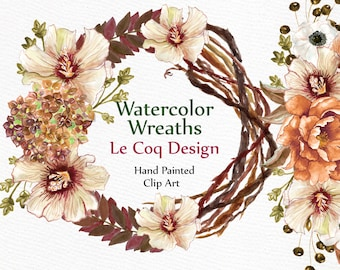 "Watercolor wreaths clipart: ""FLORAL WREATHS"" Wedding clipart  floral clipart DIY invite wedding invitation Hand painted floral frame"