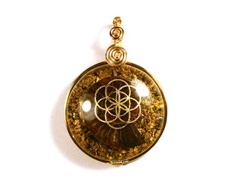 Ammonite with 22k Gold Seed of Life (collaboration with Sacred State Design) - Orgone Pendant