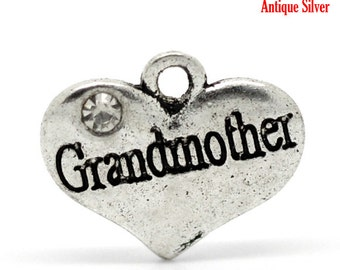 "1 or 2 or 4 pcs. Antique Silver ""Grandmother"" charm with rhinestone - 16mm X 14mm"