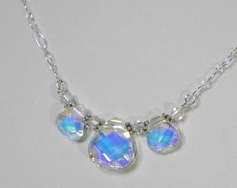 Sparkling CZ Triple Briolette Necklace