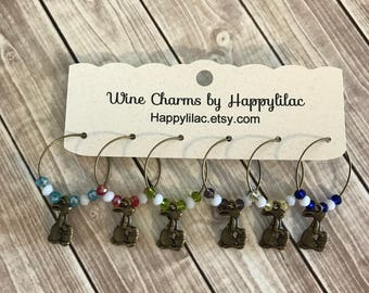 6 Wine Charms, Easter Bunny Wine Charm, Easter Wine Charms, Bronze Wine Charms, Wine Glass Charm, Easter, Easter Bunny, Easter Egg