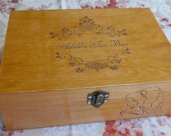 Tea box for Adelе, Personalized Tea Box, Wood Tea Box, Custom Tea storage chest 6, Engraved storage box, Engraved personal box