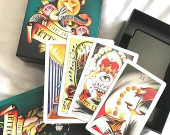 Eight Coins Tattoo Tarot Card Deck by Lana Zellner, Psychic Cards for Art Lovers