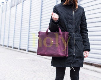 "Lether top handle bag ""Assistant"""