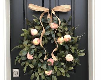 Summer Wreath, Summer Wreaths for Door, Fruit Wreaths, Summer Door Wreath, Georgia Peaches Wreath, CountryLiving Decor,Southern Wreaths