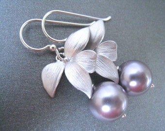 Lavender Pearl Flowered Silver Drop Earrings, Bridesmaid Pearl Earring, Sterling Silver Wires