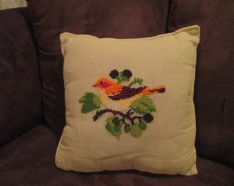 Vintage Crewel Embroidery Songbird Throw Pillow ~ Accent Pillow from Vintage Needlework ~ Reversible Accent Pillow