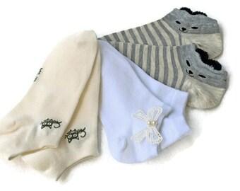 Three pair socks 3 in pack  ankle socks for women Summer little socks sporty casual socks set socks cotton  bow socks animal socks black cat