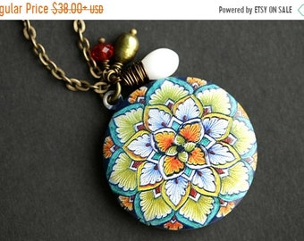 SUMMER SALE Leaf Mandala Locket Necklace. Green Leaf Mandala Necklace with White Coral Teardrop and Fresh Water Pearl Charms. Orange and Gre