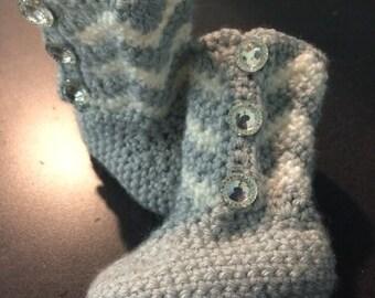 Crochet Chevron Baby Boots - Crochet Baby Boots - Handmade Baby Boots