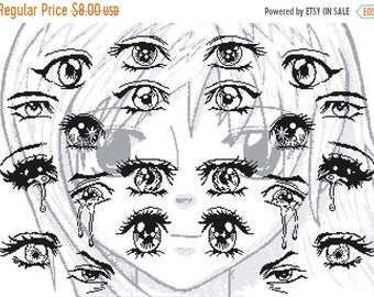 """manga eyes characters Counted Cross Stitch Pattern PDF file ristipisto kuvio modell av korsstygn - 23.43"""" x 16.86"""" - L1097"""