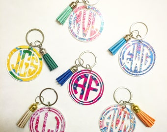Lilly Pulitzer Inspired Monogram Keychain with Tassel