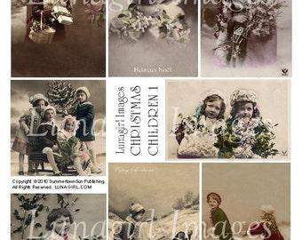 CHRISTMAS CHILDREN digital collage sheet, vintage photos Victorian holidays images snow girls French postcards altered art ephemera DOWNLOAD