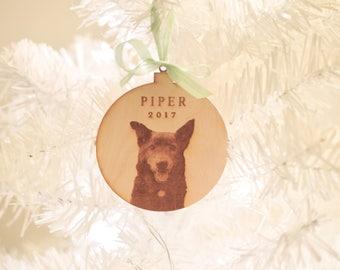 Custom Laser Cut Engraved PET PORTRAIT Christmas Ornament