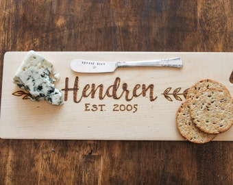 Personalized Cheese Board and Vintage Silverplate Spreader - Wedding gift - Anniversary gift- rustic cheese board- newlywed gift