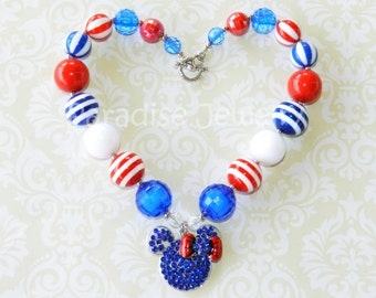 Disney Cruise, 4th of July Bubblegum Bead Necklace Minnie Mouse Inspired Chunky Red, White and Blue Independence Day Little Girls Necklace