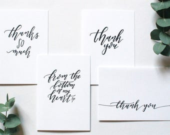Multipack of 'Thank you' cards - assorted designs - hand lettering thank you card - typography