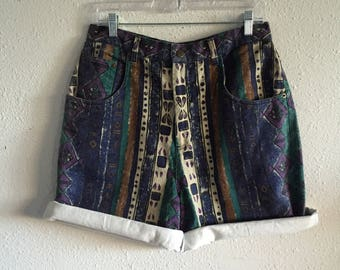 Tribal patterned vintage 90's high waisted denim shorts