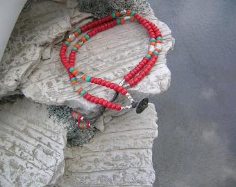 colorful multi strand ankle bracelet.