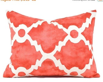 """CLEARANCE SALE 16""""x12"""" Lumbar Pillow Cover Decorative Pillow Cover Coral Pillow Premier Prints Madrid Salmon"""